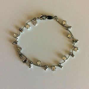"""Vintage Monet Bracelet Floral Crystal Silver 7.5"""""""